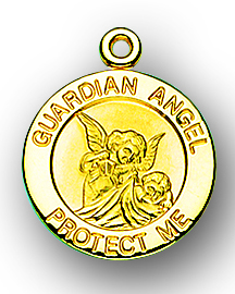 "3/4"" Solid 14kt. Gold Guardian Angel Medal with 14kt. Jump Ring Boxed"