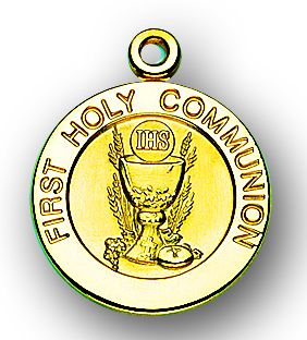 """13/16"""" Solid 14kt. Gold Round Communion Medal with 14kt. Jump Ring Boxed"""