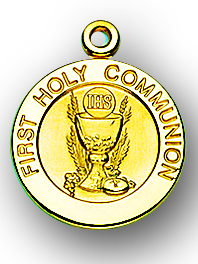 "3/4"" Solid 14kt. Gold Round Communion Medal with 14kt. Jump Ring Boxed"