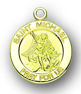 """13/16"""" Solid 14kt. Gold St. Michael Medal with 14kt. Jump Ring Boxed"""