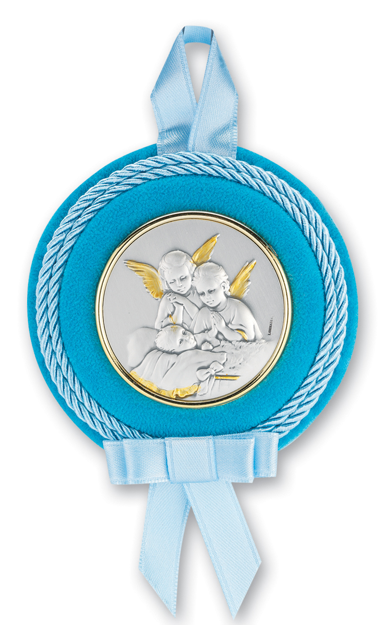 "3 1/4"" Sterling Silver Blue Guardian Angel Crib Medal"