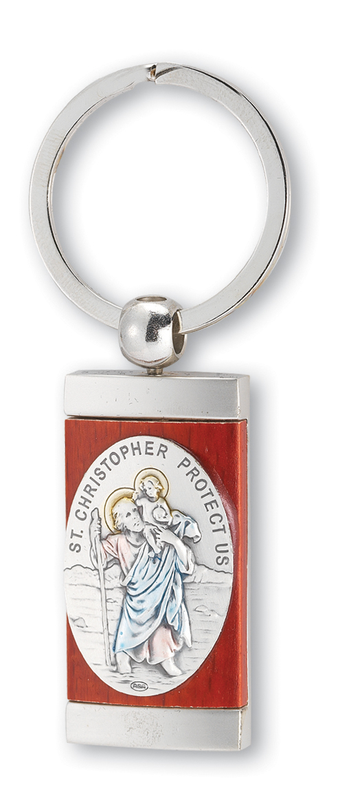 "1 3/8"" Sterling St. Christopher Key Chain"