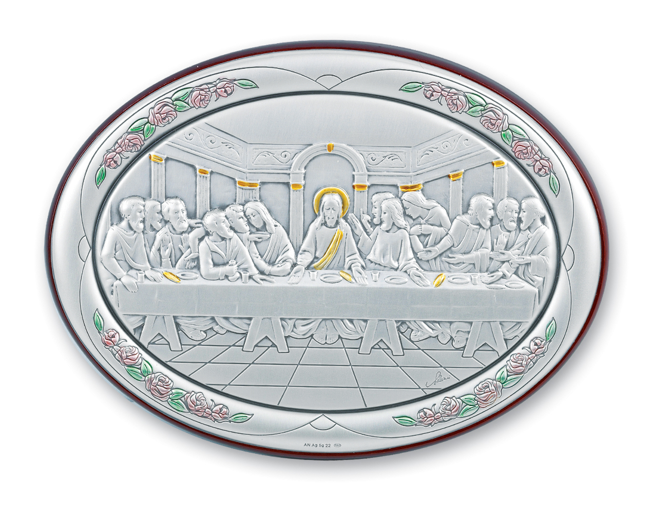 "7"" X 5"" Sterling Silver Oval Last Supper Plaque"