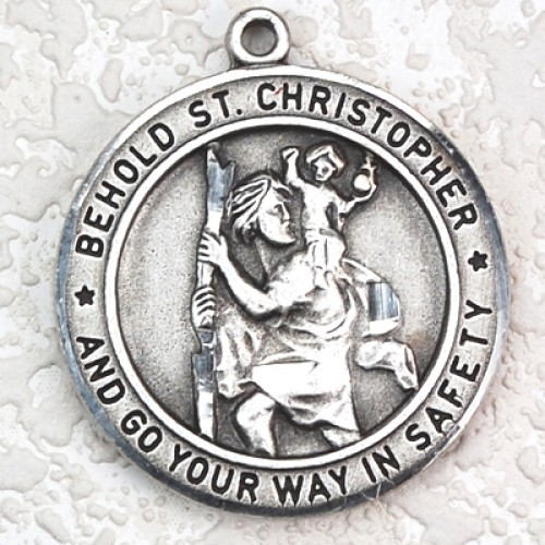 "Antique Silver St. Christopher 24"" chain/card"