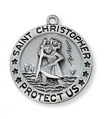 """Antique Silver St. Christopher with 18"""" Chain"""