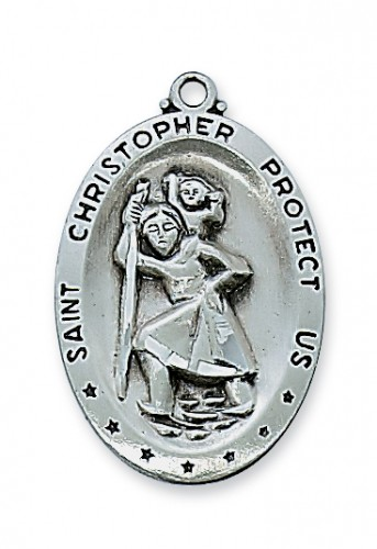 """Antique Silver St. Christopher with 24"""" Chain"""
