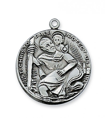 "Antique Silver St. Christopher with 24"" Chain"
