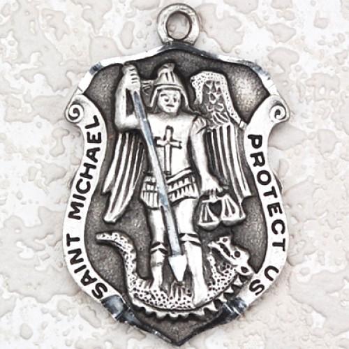 """Antique Silver St Michael 24/Car"""""""