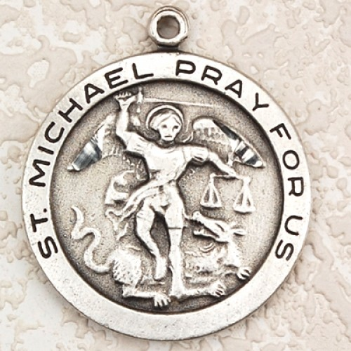 "Antique Silver St Michael 24"" chain and card"