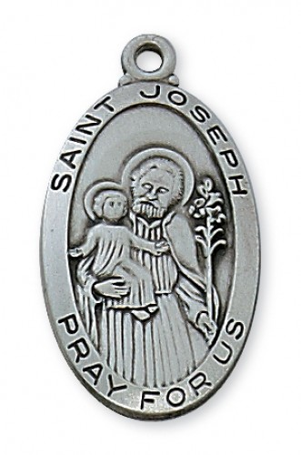 "Antique Silver St Joseph with 24"" Chain"