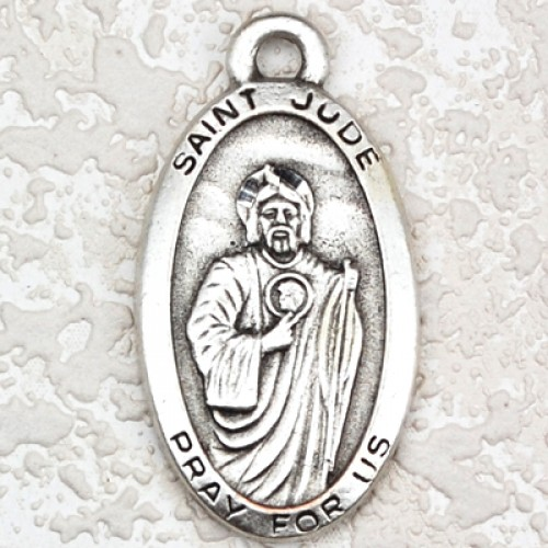 """Antique Silver St Jude 24"""" chain/Card"""