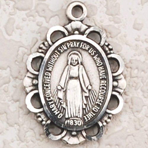 Antique Silver Miraculous 18Ch/Card