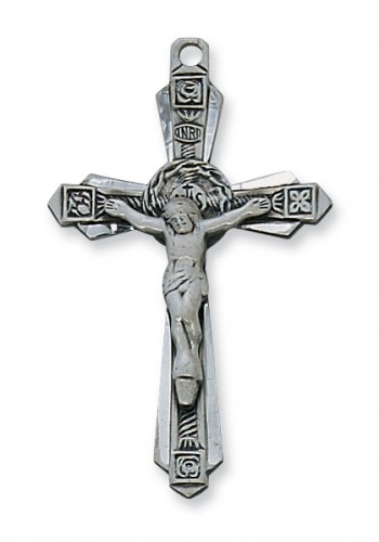 "Antique Silver Crucifix with 24"" Chain"