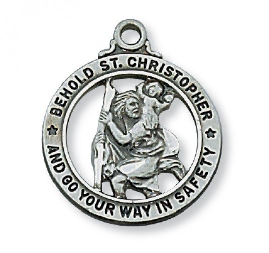 "Antique Silver St. Christopherwith 20"" Chain"
