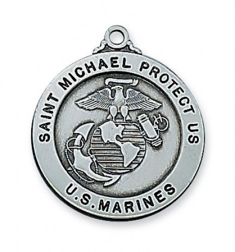 "Antique Silver Marines with 24"" Chain"