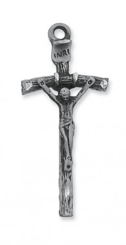 "Antique Silver Papal Crucifix with 24"" Chain"