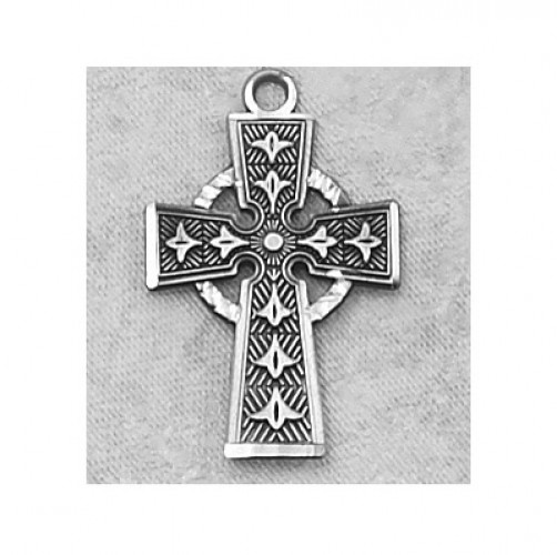 "Antique Silver Celtic Cross 18""Ch&B"