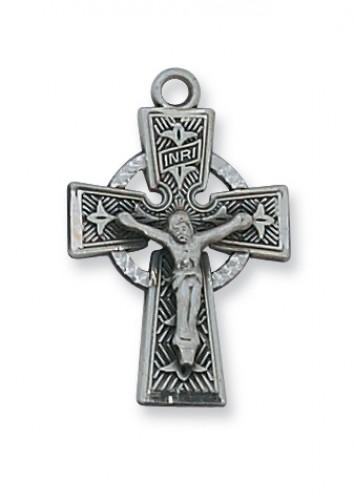 """Antique Silver Celtic Crucifix 18""""Ch&B"""