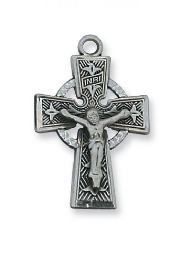 "Antique Silver Celtic Crucifix 18""Ch&B"