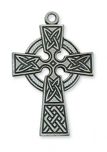 "Antique Silver Celt Crucifix with 24"" Chain"