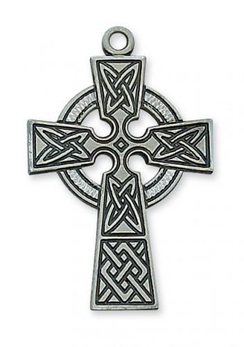 "Antique Silver Celt Crucifix with 24"" Chain"
