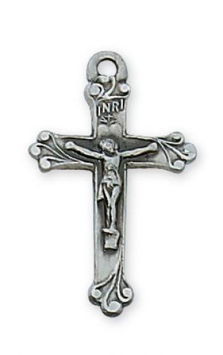 "Antique Silver Crucifix with 16"" Chain"