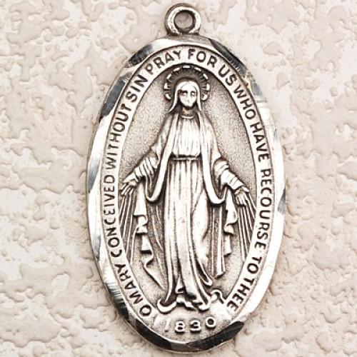 "Antique Silver Miraculous 24"" chain/Card"