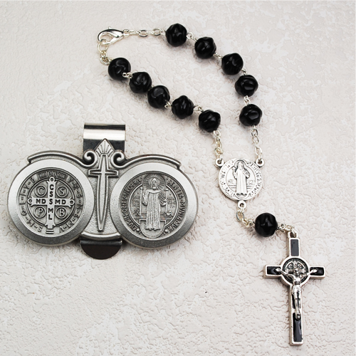 St Benedict Auto Rosary/Visor Clip