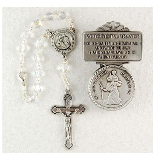 St. Christopher Auto Rosary/Visor Set