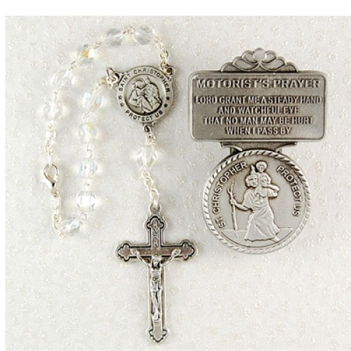 St. Christopher Auto Rosary/Visor Set