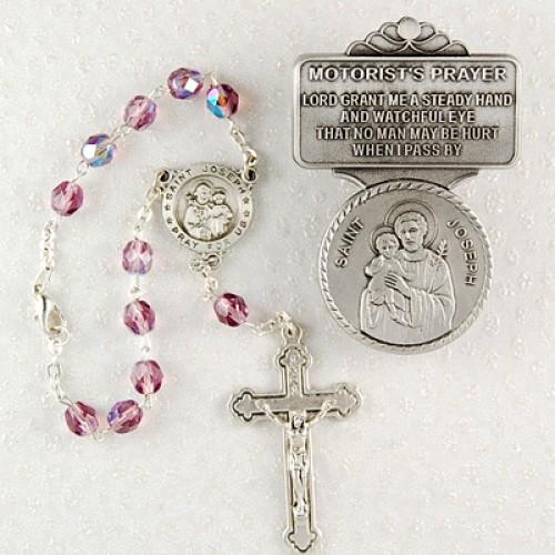 St Joseph Auto Rosary/Visor Set