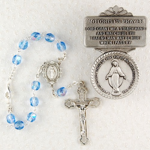 Miraculous Auto Rosary/Visor Clip Set