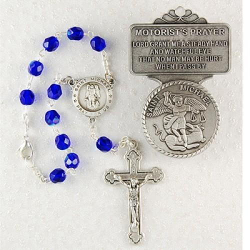 St Mike Auto Rosary/Visor Set