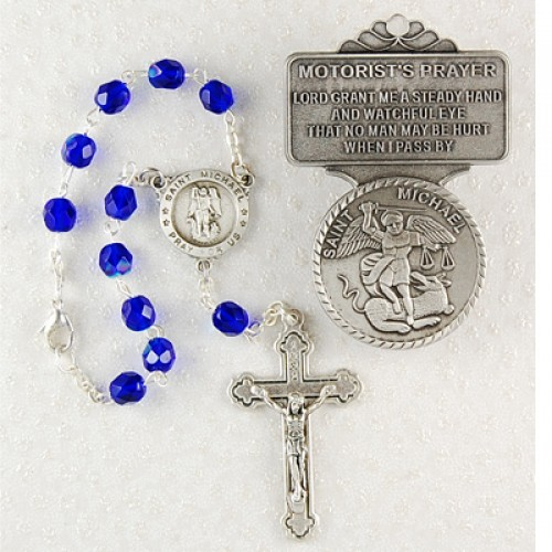St Mike Auto Rosary/Visor Set