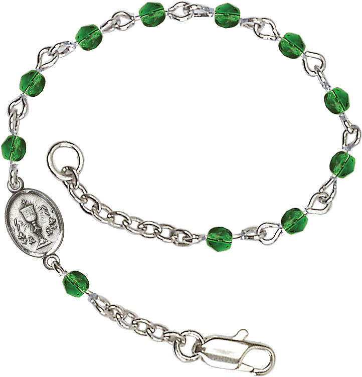 Silver Plated Bracelet with 4mm Emerald Fire Polished beads