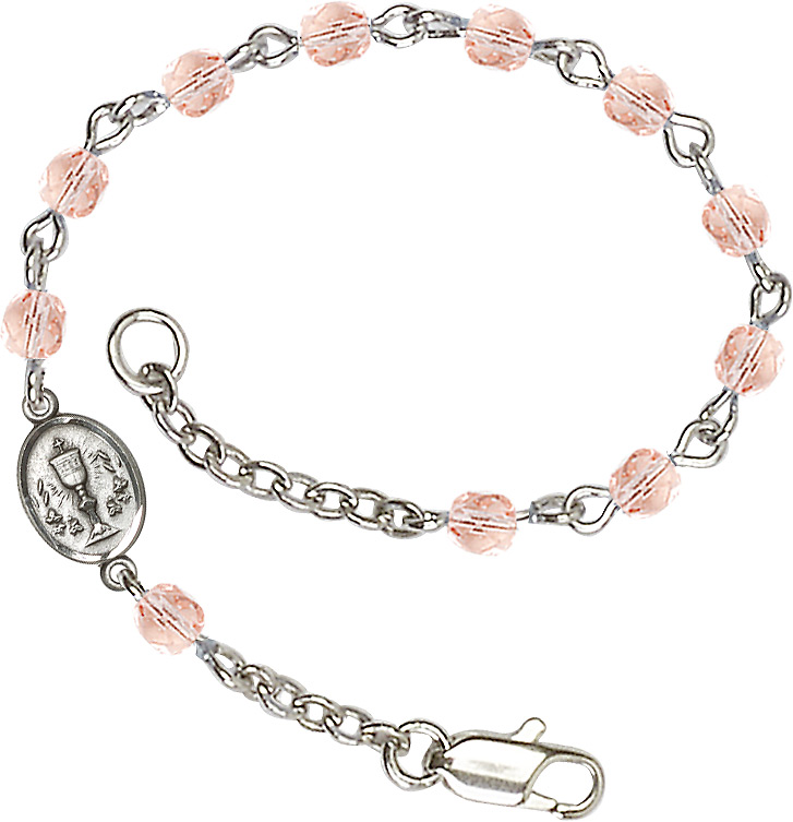 Silver Plated Bracelet with 4mm Pink Fire Polished beads