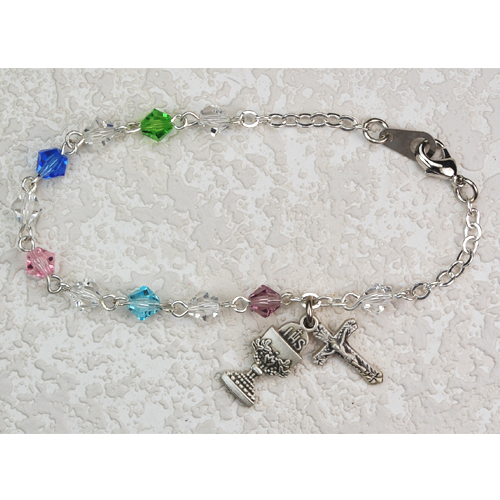 "Sterling Silver 6 1/2"" Multi Crystal Bracelet"