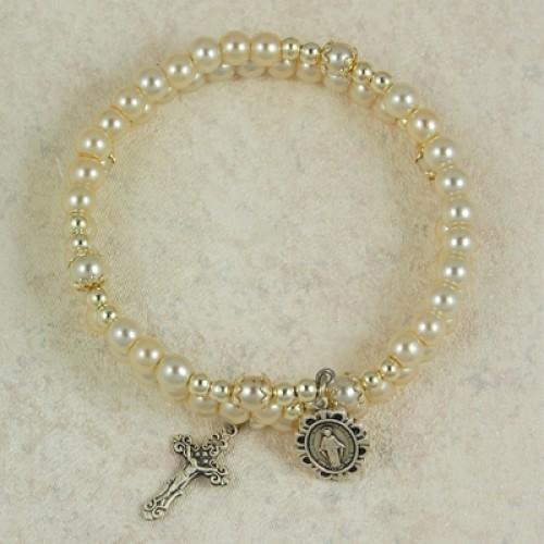 Sterling Silver 5MM Pearl Wrap Bracelet