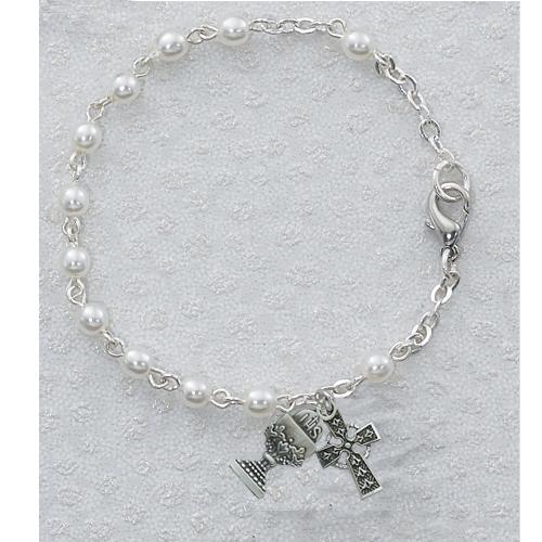 """Sterling Silver 3MM 6 1/2"""" Pearl Irish Bracelet"""