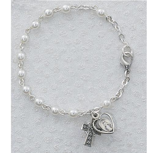 """Sterling Silver 3MM 6 1/2"""" Pearl Bracelet"""