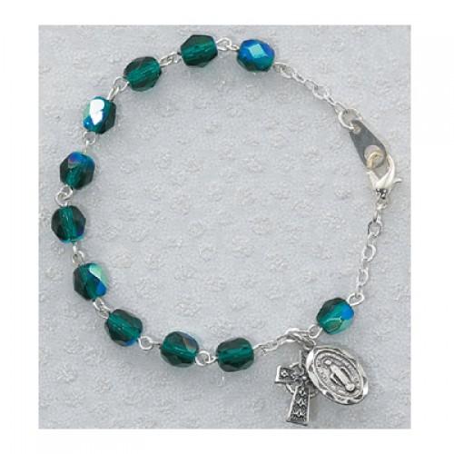 """6 1/2"""" Youth Emerald Irish Bracelet"""