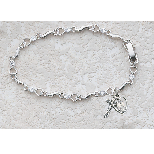 "6 1/2"" Cubic Zirconia Heart Bracelet"