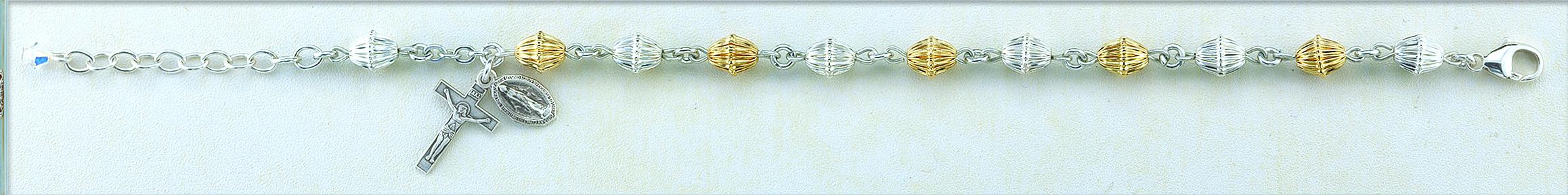 Corrugated Gold over Sterling Bracelet