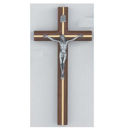 """12-inch Beveled Walnut Crucifix"""""""