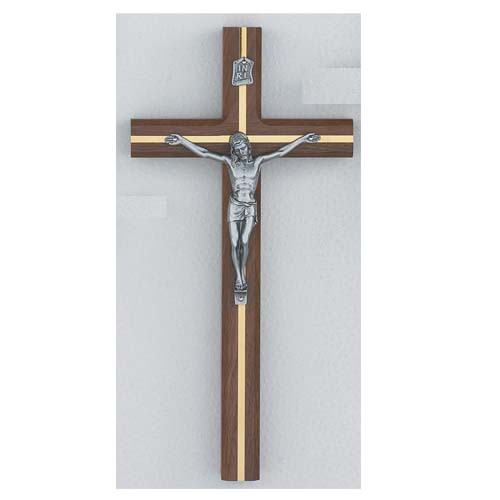 12-inch Beveled Walnut Crucifix""