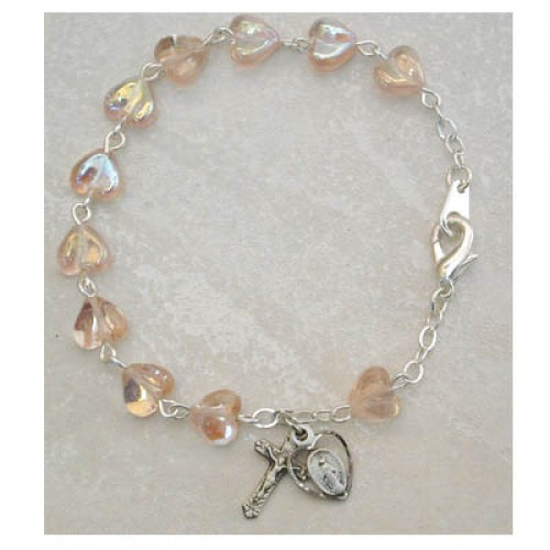 Sterling Silver Rose Heart Adult Bracelet