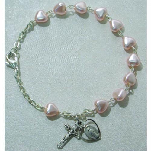 """6 1/2"""" Pink Heart Bracelet"""