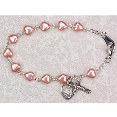 "Sterling Silver 6 1/2"" Pink Heart Bracelet"