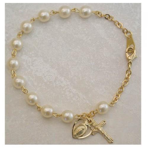 "7 1/2"" Gold Pearl Bracelet"