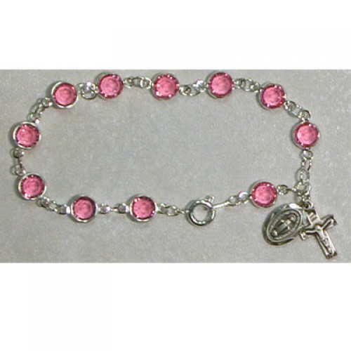 "7 1/2"" Pink Swarovski Bracelet"